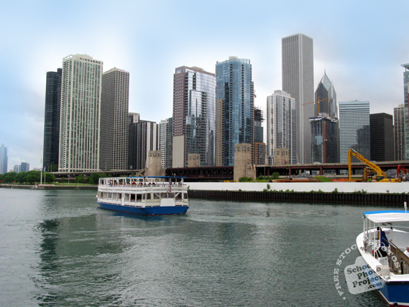 Chicago, skyline, Chicago river, skyscraper, boat, architecture, building, photo, free photo, stock photos, royalty-free image