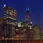Chicago skyline, Willis Tower, Sears Tower, night view, skyscraper, architecture, building, photo, free photo, stock photos, royalty-free image