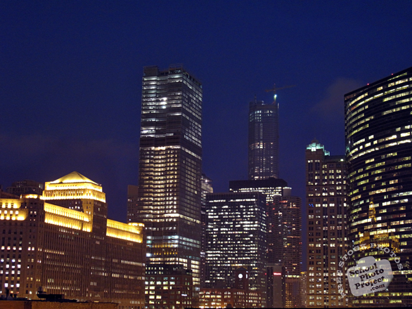 Chicago skyline, night view, skyscraper, architecture, building, photo, free photo, stock photos, royalty-free image
