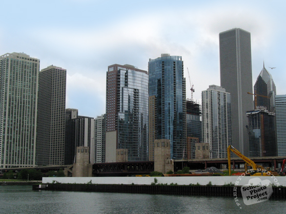 Chicago skyline, skyscraper, Chicago river, architecture, building, photo, free photo, stock photos, royalty-free image