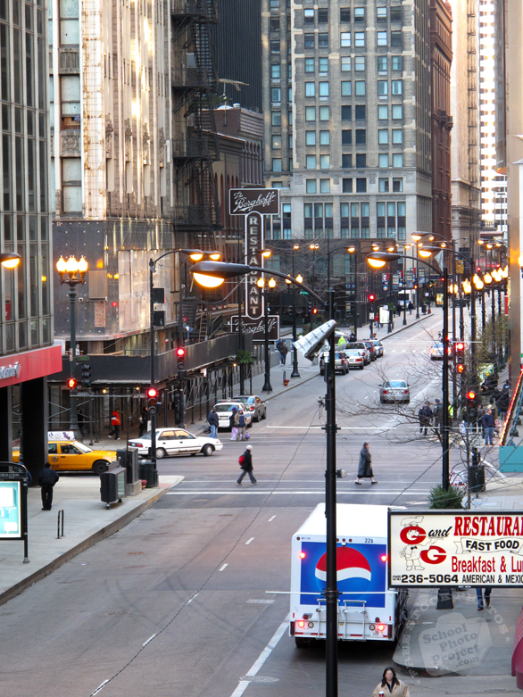 Chicago downtown, Chicago businesses, downtown street, street view, windows, skyscraper, buildings, architecture photo, free stock photos, free images, royalty-free image