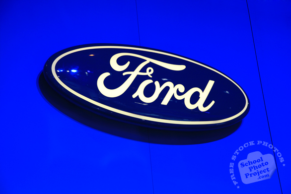 Ford logo, Chicago Auto Show, stock photos, free images, royalty free pictures