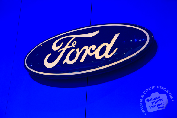 Ford logo, Ford sign, Chicago Auto Show, stock photos, free images, royalty free pictures