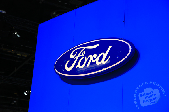 Ford Motor Company logo, Ford brand, display stand, Chicago Auto Show, stock photos, free images, royalty free pictures