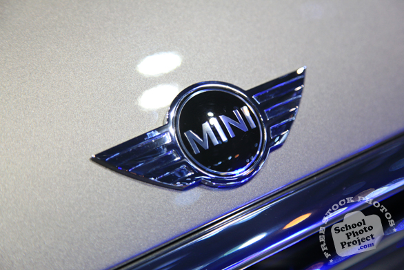 Mini Cooper metallic logo, Chicago Auto Show, stock photos, free images, royalty free pictures