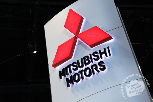 Mitsubishi Motors exhibit sign, Chicago Auto Show, stock photos, free images, royalty free pictures
