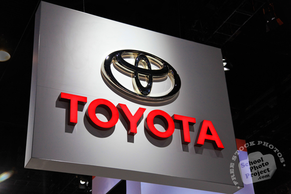 Toyota hanging sign, Toyota logo, Chicago Auto Show, stock photos, free images, royalty free pictures