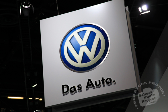 Volkswagen logo sign, VW, Das Auto, Chicago Auto Show, stock photos, free images, royalty free pictures
