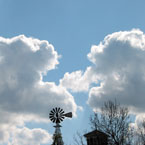 windmill, cumulus clouds, clouds, cloudy sky, cloudscape, weather, sky photo, free photo, stock photos, royalty-free image