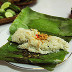 steamed rice, nasi pepes, banana leaves wrapped rice, sundanese food, Indonesian local food, food photo, free photo, free stock photo, free picture, royalty-free image