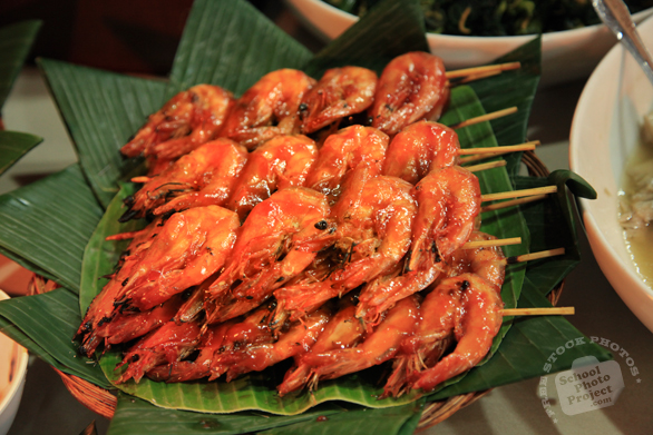 shrimp, shrimp satay, barbecue shrimps, sundanese food, traditional food, Indonesian local food, food photos, free stock photo, free picture, royalty-free image