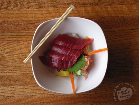 tuna, sashimi, rice bowl, Japanese Food, table, free photo, free images, stock photos, stock images, royalty-free image