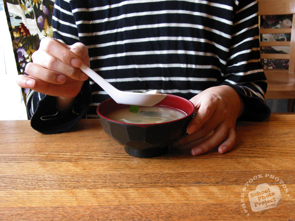 drinking miso soup, soup, Japanese Food, bowl, soup spoon, table, free photo, stock photos, royalty-free image