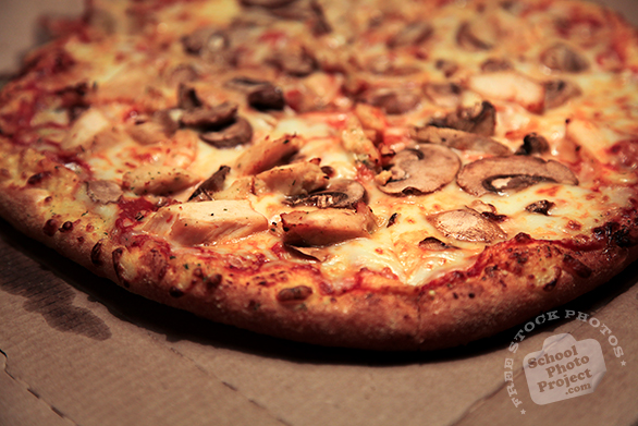 pizza, large pizza, chicken mushroom pizza, home-delivered pizza, bakery photo, free photo, free images, stock photos, stock images, royalty-free image