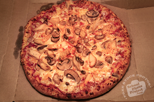 pizza, large pizza, chicken mushroom pizza, fresh pizza, bakery photo, free photo, free images, stock photos, stock images, royalty-free image