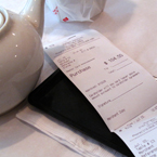 restaurant bill, food bill, paying bill, teapot, Chinese food, food photo, free photo, free stock photo, free picture, royalty-free image