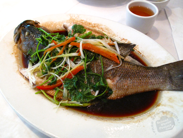 steamed fish, steamed carp, seafood photo, Chinese food, Chinese cuisine, traditional food, free photo, free images, stock photos, stock images, royalty-free image