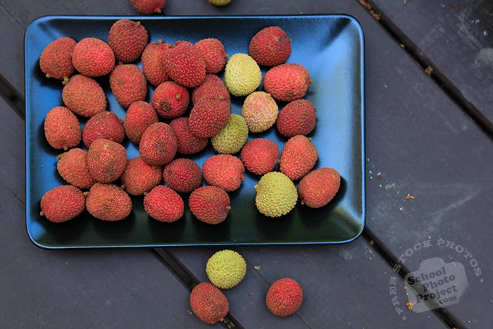 red lychee, ripe lychees on plate, picture of lychees, fresh lychee, fruit photo, free stock photo, stock photography, royalty-free image