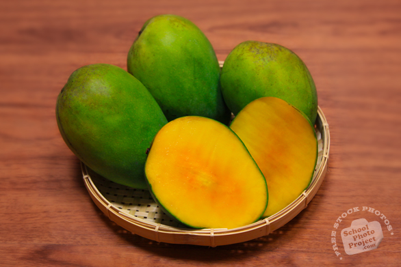 sliced mangos, cut mango, mango photos, green mango, tropical fruit photos, free photo, stock photos, free picture, stock photography, stock images, royalty-free image