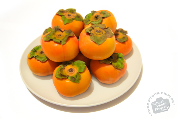 persimmons, fuyu persimmon, persimmon photo, picture of persimmons on plate, fruit photo, free stock photo, free picture, stock photography, stock images, royalty-free image