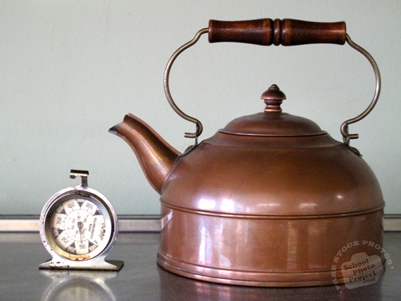 kettle, copper kettle, teapot, old temperature clock, tableware, silverware, kitchenware, kitchen appliances, cooking tools, free stock photo, free picture, stock photography, stock image, royalty-free image