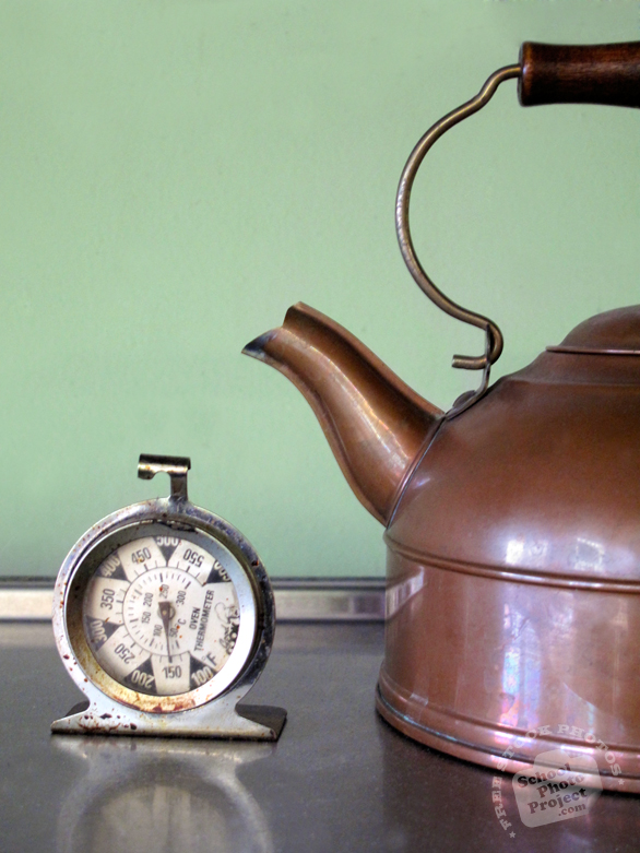 kettle, copper kettle, teapot, temperature clock, tableware, silverware, kitchenware, kitchen appliances, cooking tools, free stock photo, free picture, stock photography, stock image, royalty-free image