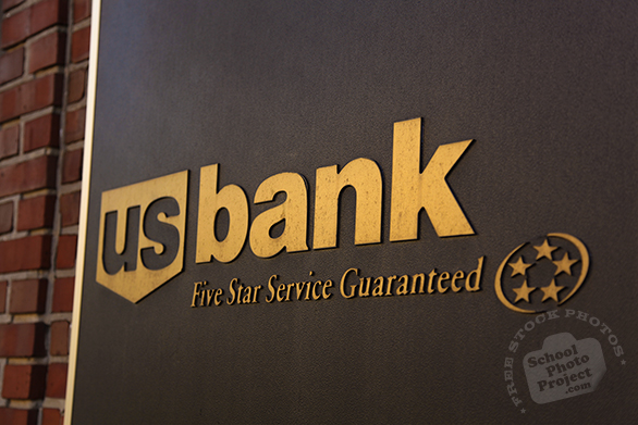 US Bank logo, USBank metal sign, USBank brand, corporate identity image, logo photo, free logo mark, free stock photo, free picture, royalty-free image