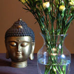 buddha bust, buddha head, bronze statue, vase, flower, decor, daily object, free photo, stock photos, royalty-free image