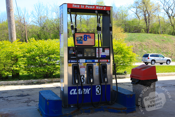 gas pump, Clark gas station, gasoline, petroleum, daily objects, free stock photo, picture, free images download, stock photography, royalty-free image