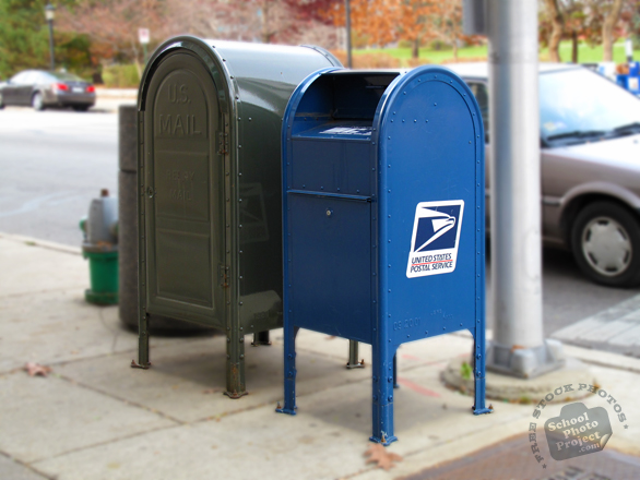 USPS mailbox, post office box, mail, letterbox, post box, daily objects, stock photos, free foto, free photos, free images download, stock photography, stock images, royalty-free image