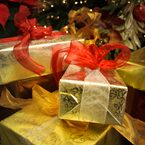 Christmas gifts, wrapped presents, ribbon, bauble, Christmas decoration, Christmas tree ornaments, Xmas, religious holiday, seasonal picture, holidays celebration, free stock photo, free picture, stock photography, royalty-free image