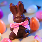 chocolate bunny, Easter bunny, Easter eggs, colorful eggs, egg hunting, pink ribbon, Easter Day, pascha, Christian festival, religious holiday, holidays photos, seasonal pictures, celebration images, free foto, free photo, picture, image, free images download, stock photography, stock images, royalty-free image