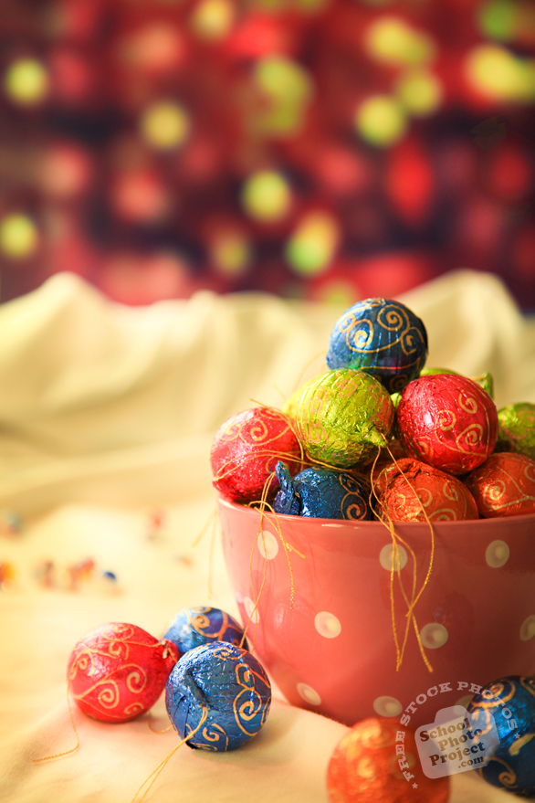 chocolate, Christmas assortment, Christmas decoration, Xmas celebration, bauble, bokeh light, religious holiday, seasonal picture, holidays celebration, free stock photo, free picture, stock photography, royalty-free image