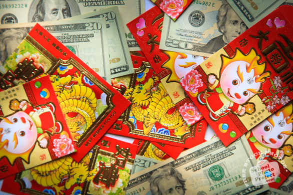 red envelope, dollar, U.S. currency, money, $20, $100, Chinese New Year, New Year celebration, seasonal picture, holidays celebration, free stock photo, free picture, stock photography, royalty-free image