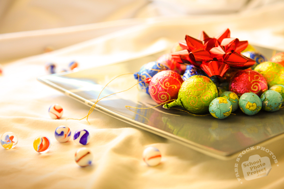 chocolate, plate, ribbon, glass marbles, Christmas assortment, Christmas decoration, Xmas celebration, bauble, religious holiday, seasonal picture, holidays celebration, free stock photo, free picture, stock photography, royalty-free image