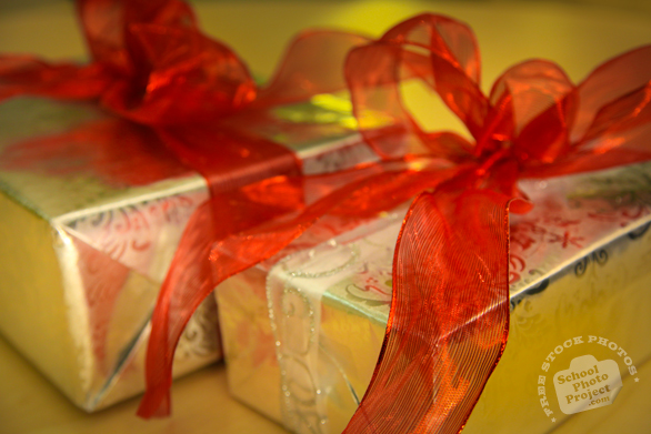 presents, gifts, wrapped gifts, ribboned gift, holiday presents, seasonal picture, holidays celebration, free stock photo, free picture, stock photography, royalty-free image