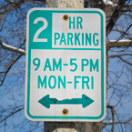 2 hour parking, parking sign, road sign, traffic sign, free stock photo, free picture, stock photography, royalty-free image