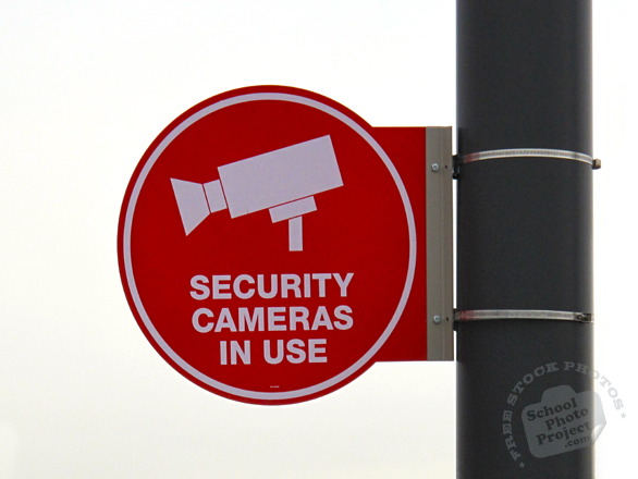 security cameras in use sign, security sign, warning sign, free photo, picture, image, free images download, stock photography, stock images, royalty-free image