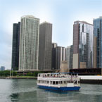 Chicago, skyline, skyscraper, boat, river, architecture, building, photo, free photo, stock photos, royalty-free image