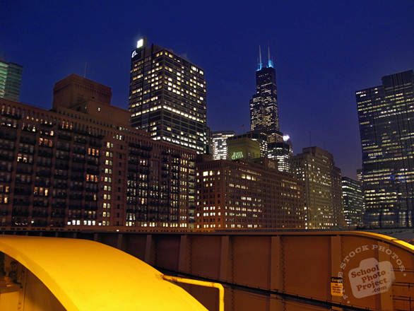 Chicago skyline, Sears Tower, night view, skyscraper, architecture, building, photo, free photo, stock photos, royalty-free image