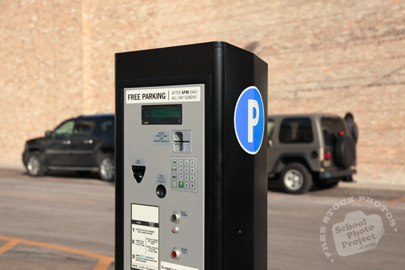 parking pay box, pay-to-park, multispace meter, modern parking meter, free stock photo, picture, free images download, stock photography, royalty-free image