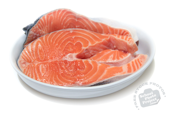 salmon, cut fish, prepared seafood, fresh water fish, free stock photo, picture, free images download, stock photography, royalty-free image