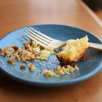 cake crumbs on plate, fork, plate, free stock photo, free images, royalty-free image