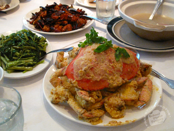 crab, fried dungeness crab, seafood photo, water spinach, vegetable dish, spicy chicken, Shanghai cuisine, Chinese cuisine, traditional food, free photo, free stock photo, stock picture, royalty-free image