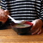 eating, miso soup, soup, Japanese Food, bowl, soup spoon, table, food photo, free photo, free stock photo, free picture, royalty-free image