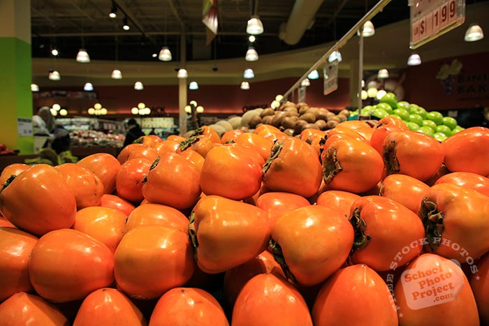 persimmons, hachiya persimmons in store, persimmon photo, free photo, free stock photo, stock photography, royalty-free image