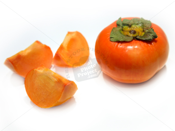 persimmon, fuyu persimmon, sliced persimmon photo, picture of cut persimmon, fruit photo, stock photos, stock images, royalty-free image, school photo project use
