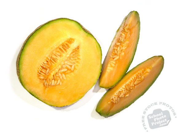 cut cantaloupe, sliced cantaloupe, cantaloupe photo, picture of cut cantaloupe, fruit photo, free images, stock photos, stock images, royalty-free image