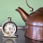 kettle, teapot, copper kettle, temperature clock, kitchen appliance, kitchen utensils, free stock photo, free picture, stock photography, royalty-free image