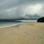sandy beach, seaside, cumulonimbus cloud, cloudy sky, stormy, tropical island, panorama, nature photo, free stock photo, free picture, stock photography, royalty-free image